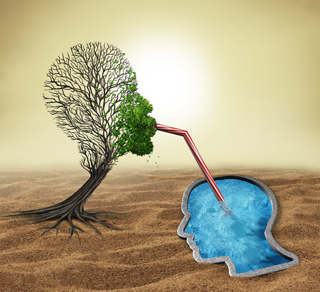 Psychology treatment and mental health assistance as a sick tree shaped as a human head drinking water from a pool in the shape of a face as a psychologist or psychiatrist metaphor for helping a patient with 3D illustration elements. Stock Photo