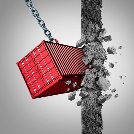 무역 장벽 개념 및 경제 제재를 위반하거나 3D 일러스트 요소로 장애물 벽을 깨는화물 컨테이너로 새로운 수출 및 수입 시장 개방.