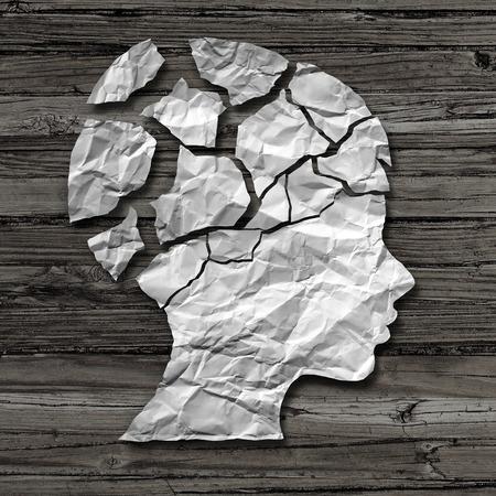 Le concept d'abus d'enfant et les dommages physiques ou émotionnels chez les enfants en tant que victime de violence ou d'agression en tant que papier froissé sur le bois rustique en forme de tête d'un jeune négligé comme métaphore de la psychologie dans un style d'illustration 3D. Banque d'images - 75432906