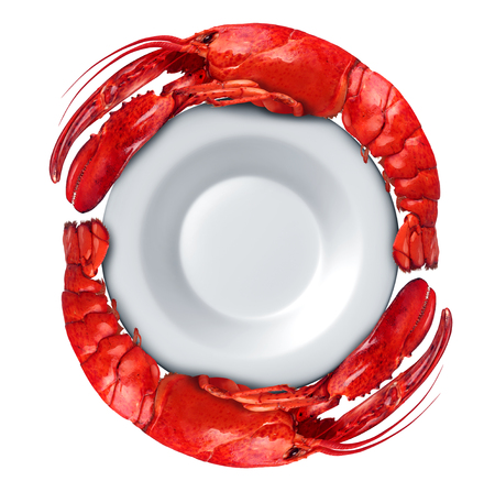 symbol: Lobster dish with Lobsters shaped as a circle around a blank plate isolated on a white background as fresh seafood or shellfish food as a luxury expensive restaurant meal concept with 3D illustration elements.