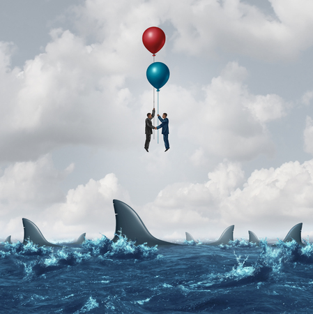 overcome: Business meeting risk as two businessmen overcome the dangerous sharks in the water by using balloons to rise above the obstacle as a corporate metaphor for finding partnership solutions with 3D illustration elements. Stock Photo