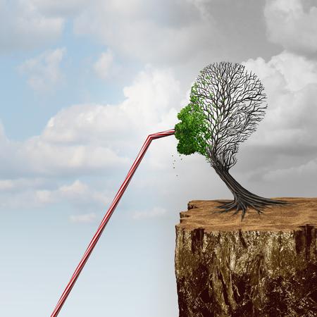 Auftauchen in neue Märkte und Business-Konjunktur-Strategie oder Umweltschutz oder saubere Wassermangel-Konzept als ein Baum, der in Gefahr ist, fehlgeschlagen zu finden, hilft bei der Verwendung eines Strohs, um auf Hilfe mit 3D-Darstellungselementen zuzugreifen.
