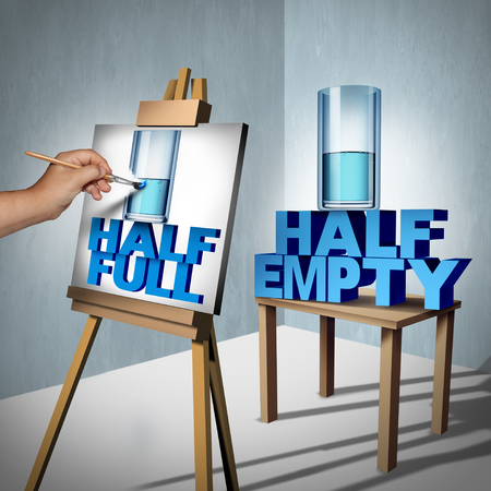 Positive Thinking concept and optimistic point of view symbol as a half empty glass of water being interpreted by an optimistic person as half full as a successful thinker metaphor with 3D illustration elements.