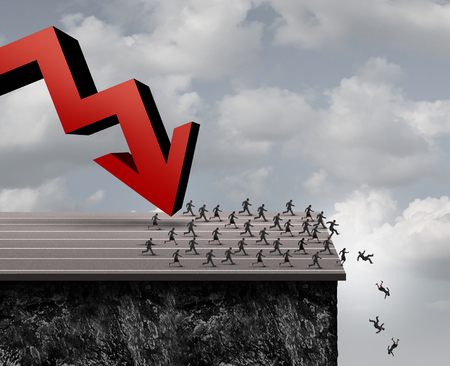Business panic concept as a group of scared businessmen and businesswomen running over a cliff from a falling red arrow as a financial fear symbol with 3D illustration elements.