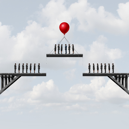downsizing: Recruitment of employees or losing essential staff business employment concept as people on a bridge being moved by a balloon with 3D illustration elements.