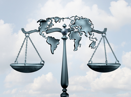 International law and global legal system concept as a justice scale shaped as the world as a metaphor for diplomatic treaty agreement or relations among nations as a 3D illustration. Stock Photo