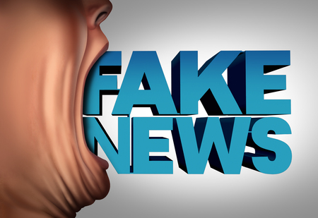 spoof: Fake news communication concept and hoax journalistic reporting as a person with text coming out of an open mouth as false media reporting metaphor and deceptive disinformation with 3D illustration elements. Stock Photo