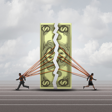 Equal pay concept and gender wage gap symbol as a man and woman pulling apart a generic dollar as a financial compensation metaphor for equality in the workplace or prenuptual agreement with 3D illustration elements. Stock Photo