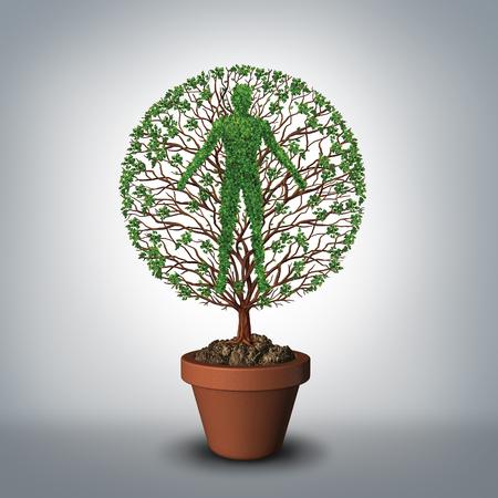 健康的なライフ スタイルや永遠のリビングと 3 D イラスト要素を持つ進化の神話の医療および医学の記号として人間として形をした植木鉢から育つ