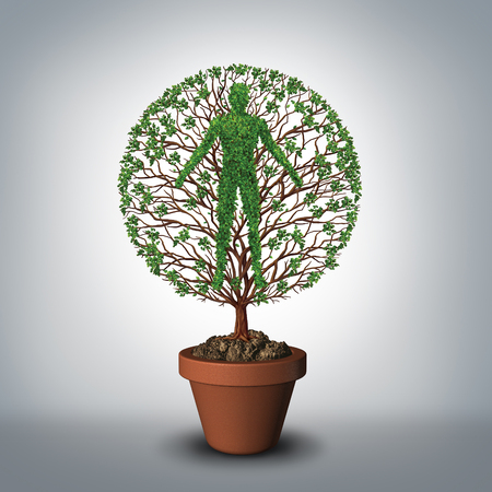 Tree of life symbol as a plant growing from a flower pot shaped as a human as a medical and medicine symbol for a healthy lifestyle or mythology of eternal living and evolution with 3D illustration elements.