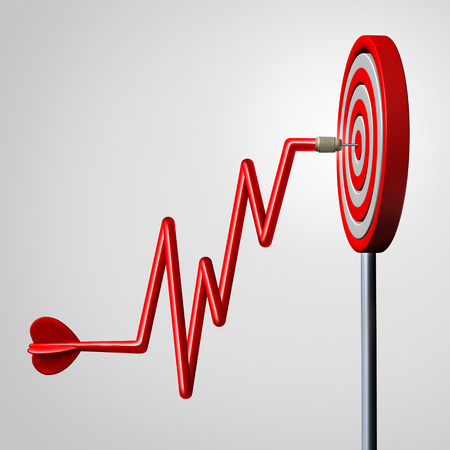 Profit target goal as a dart shaped as a rising financial chart diagram hitting a dartboard in the center as a business success metaphor for reaching strategic profitable revenue as a 3D illustration. Stock Photo