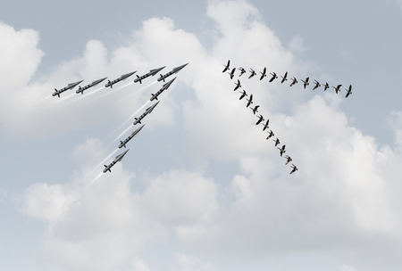 War peace concept as a group of peaceful geese in a v formation facing dangerous missiles as a metaphor for violence versus pacifism or diplomacy with 3D illustration elements. Stock Photo