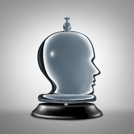 private access: Personal service and individual services as a hotel desk bell shaped as a human head as a metaphor for private concierge vip help assistance as a 3D illustration.