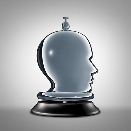 Un service personnalisé et des services individuels en tant que cloche de bureau d'hôtel en forme de tête humaine comme métaphore pour l'assistance de conciergerie privée vip comme illustration 3D. Banque d'images - 75910943