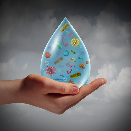 Infected water and waterborne disease risk as a human hand holding a drop of contaminated dirty drinking or washing liqiuid with bacteria viruses as a hygiene concept 3D illustration elements.