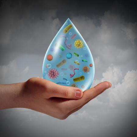 Risque d'infection à l'eau et à l'eau contaminée en tant que main humaine tenant une goutte de liquide contaminé ou d'alcool ou de lessive contaminé par des virus bactériens en tant que concept d'hygiène éléments d'illustration 3D. Banque d'images - 75814522