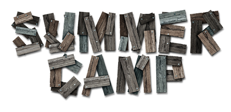 retro: Summer camp icon text made of nailed rustic wood as a summertime school break and educational acivity symbol or recreational child learning as a  camping workshop program for children with 3D illustration elements.