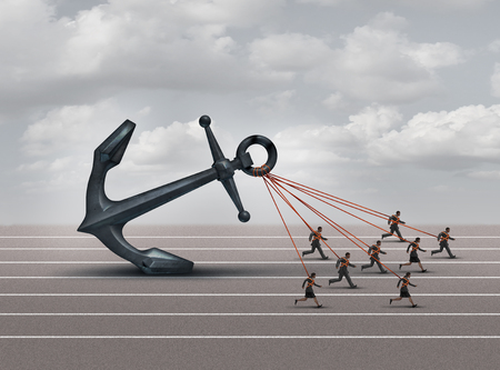 overcome: Business group challenge as a team of workers pulling a heavy anchor together as a corporate metaphor for overcoming the burden and obstacles of a company with 3D illustration elements.
