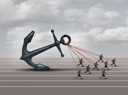 Wyzwanie grupy biznesowej jako zespół pracowników ciągnących ciężką kotwicę jako metaforę korporacyjną dla przezwyciężania ciężaru i przeszkód firmy z elementami ilustracji 3D.
