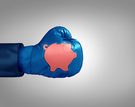 Financial savings power economic concept as a boxing glove with a piggybank patch as a strong  bank or banking investment metaphor and investing strength symbol in a 3D illustration style. Imagens