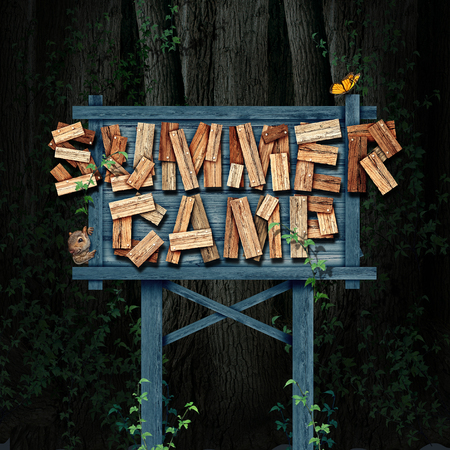 Summer camp nature sign text made of rustic wood in a forest with animals as a summertime school break and acivity symbol or recreational learning as a camping workshop program for children with 3D illustration elements. Stock Photo