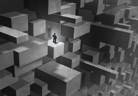 to think: Business challenge concept as a lost and stranded businessman in a complicated abstract maze as a metaphor for career complication and seeking advice with 3D illustration elements. Stock Photo