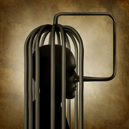 trapped: Incriminating yourself or self incrimination concept as a person with a long pinocchio nose symbol that transforms into a cage as a guilt psychology metaphor for self conviction or trapped by lies with 3D illustration elements.