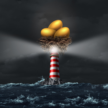 golden egg: Retirement investment advice and financial savings guidance concept as a golden egg nest on top of a lighthouse beacon as a metaphor for pension and retiring plan with 3D illustration elements. Stock Photo