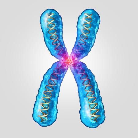 Cromosoma ADN genético concepto como una molécula microscópica con una estructura de doble hélice del gen como una microbiología y símbolo médico de la herencia o mutación evolutiva como una ilustración 3D.