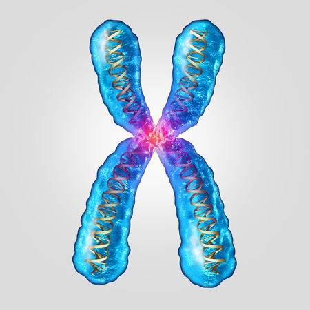 Chromosome genetic dna concept as a microscopic molecule with a double helix gene structure as a microbiology and medical symbol for heredity or evolutionary mutation as a 3D illustration.