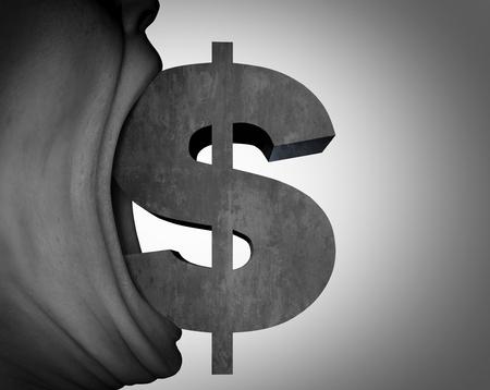 cash money: Dinero hambre y codicia o concepto de asesoramiento financiero como una boca codicioso con un signo de dólar como una metáfora de pago o riqueza con elementos de ilustración 3D. Foto de archivo