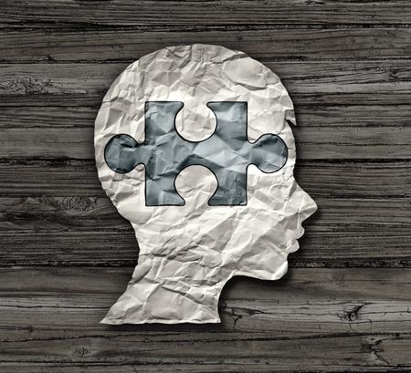 La educación de la niñez o el desorden mental en el cerebro de un niño como epilepsia agregan o adhd o símbolo del autismo como un papel arrugado con una pieza del rompecabezas formada como la cabeza de un cabrito en un estilo de la ilustración 3D. Foto de archivo