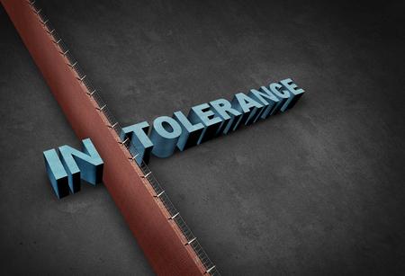 Intolerantie en intolerant concept als grensmuur een woord verdelen die vooroordeel en discriminatie als een 3D-afbeelding voorstelt. Stockfoto