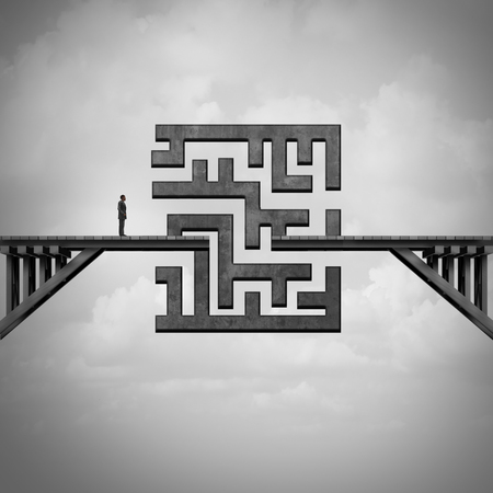 business people: Concept of path challenge as a businessman on a bridge with a maze blocking the passage to the other side as a metaphor for solving adversity with 3D illustration elements. Stock Photo
