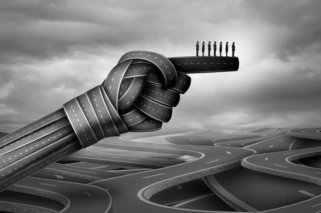 shaped: Business group advice and corporate company direction as businesspeople guided by roads shaped as a pointing hand with 3D illustration elements.