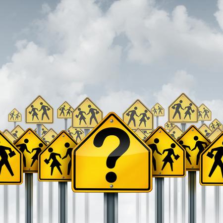 marca libros: El estudiante pregunta el concepto como un grupo de señales de tráfico con la escuela que cruza iconos y un signo de interrogación como metáfora de la crisis de la educación para aprender confusión y el asesoramiento con los elementos de la ilustración 3D.