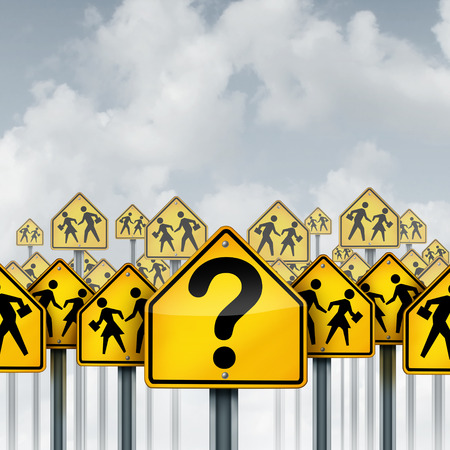Student questions concept as a group of traffic signs with school crossing icons and a question mark as an education crisis metaphor for learning confusion and counseling with 3D illustration elements. Stock Photo
