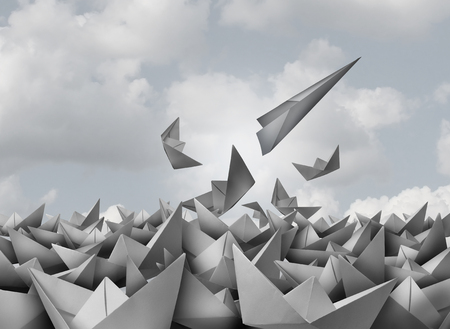 Innovation and opportunity concept as a paper airplane breaking out from a group of origami boats as a business success metaphor for change and evolution in strategy to succeed in a 3D illustration style.