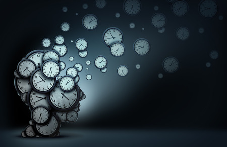 Tijdplanningskoncept als een groep van klokken die als een menselijk hoofd zijn gevormd, die de voorwerpen verspreiden als een metafoor voor bedrijfsorganisatievaardigheden als een 3D-illustratie.