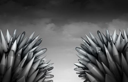 minaccia di guerra bomba come un mazzo di pericolosi missili balistici militari e missili nucleari o atomiche fronte al largo e in competizione in modo minaccioso come geopolitica terza guerra mondiale minaccia come illustrazione 3D.
