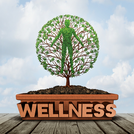 Wellness and natural healthy lifestyle symbol as a flower pot with text and a growing plant shaped as a human as a harmony and relaxation metaphor with 3D illustration elements.