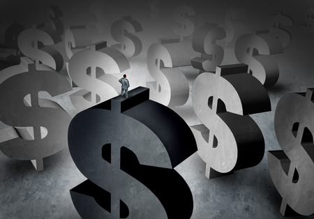 cash: Wealth planning concept and money management symbol as a person standing on dollar signs looking at a background of future profit opportunity with 3D illustration elements.