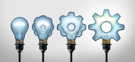 Business Development Idee und Entwicklung Industrie Erfolg durch kreative Erfindung als Glühbirne, die sich zu einer Zahnradform als 3D-Illustration. Standard-Bild