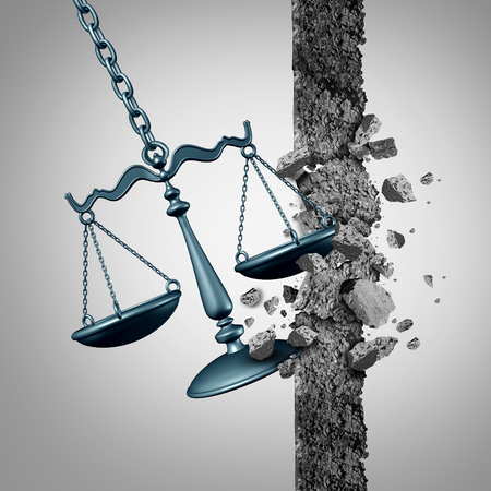 Breaking legal ground and lawyer services success symbol as a justice scale destroying a wall as a wrecking ball with 3D illustration elements. Stock Photo
