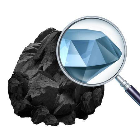 finding: Searching for value and discovering or finding valuable opportunity as a magnifying glass looking into a rock and revealing an expensive diamond with 3D illustration elements.