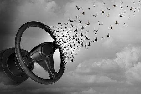 自律走行および自治操縦装置、自動ステアリング ホイール変換として自己ドライバー概念が現実的な自動車アイデアや 3 D の図要素を持つ飛行車の 写真素材
