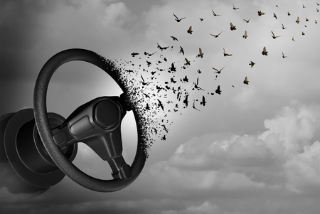 Autonomous driving and autopilot self driver concept as an auto steering wheel transforming to birds as a surreal automobile idea or flying car icon with 3D illustration elements. Stock Photo