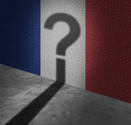 flag: Uncertainty in France or French vote and election questions as a red whitre and blue flag painted on a wall with the shadow of a question mark as a political metaphor for European confusion with 3D illustration elements.