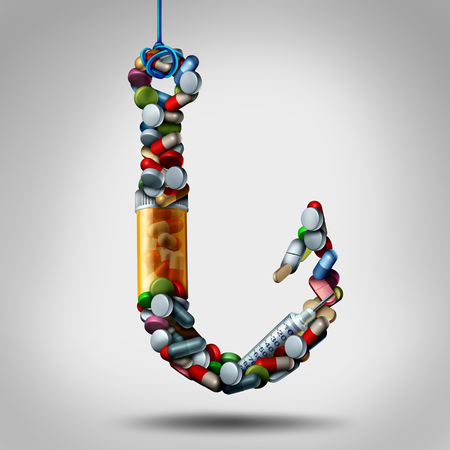 Hooked on medicine and addiction to meds as opiods risk as a hook made of pills and addictive medication as a medical health symbol for the dangers of being trapped by prescription drugs as a 3D illustration.