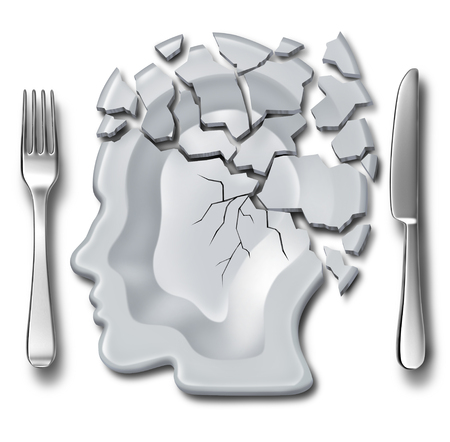 Migraine headache and burnout medical and mental health concept or emotional breakdown symbol as a place setting with a broken plate as psychological icon as a 3D illustration. Фото со стока